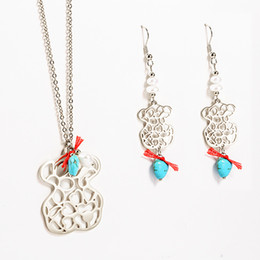 Wholesale Gold Turquoise Sets - TL Gold Silver Bear Jewelry Set Wholesale High Quality Stainless Steel Jewelry Set Turquoise & Pearl Beads Brand Jewelry Set