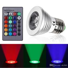 Wholesale Spotlight Rgb Dhl - RGB GU10 E27 MR16  E14 5W LED Bulb Lamp light changing colors 85-265V Spotlight with IR Remote control DHL free