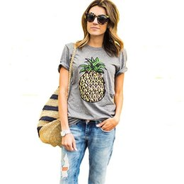 Wholesale Bell Sleeve Xs - Wholesale- 2017 New Fashion Pineapple Printed Gray Women T shirt Summer Plus Size Casual Brand T-shirt Short Sleeve O-neck Tops 61320