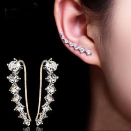 Wholesale Top Ear Black Earrings - Dipper Zircon crystals Stud Earrings for women fashion jewelry earrings female Brincos silver color Ear Hook top quality