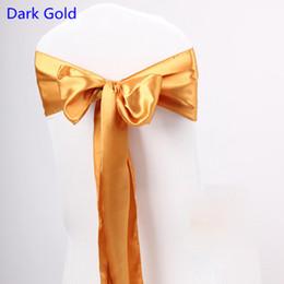 Fundas para sillas fajas de oro online-Color oro oscuro silla de raso de alta calidad corbata de lazo para la silla cubre el banquete de boda hotel hotel banquete decoración del hogar al por mayor