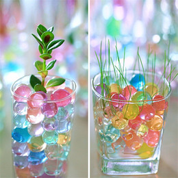 Wholesale Magic Gel Soil - 50pcs Crystal Soil Mud Grow Water Beads Hydrogel Magic Gel Jelly Balls Orbiz Sea Baby Growing in Water Vase Home Decor