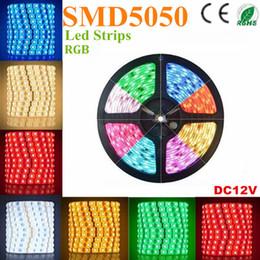 Wholesale Led Tape Adhesive - 500m RGB Led Strips SMD 5050 5M 300 Leds Waterproof IP65 Led Flexible Strips Light DC 12V With 3M adhesive tape