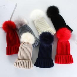 Wholesale Knit Beanie Women S - Fur Color Pom Poms Keep Warm Winter Hat For Women Girl 'S Hat Knitted Beanies Cap Thick Female Cap