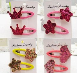 Wholesale Hair Clips For Baby Girls - Cartoon gold BB Barrettes baby Girls headwear Hair Bows kids paillette Hair Clips princess for Childrens Accessories ship