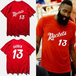 Wholesale t shirt 13 - James harden basketball jersey 2018 summer cotton red fashion t-shirt rocket #13 print t shirt men camisetas hombre,tx2422