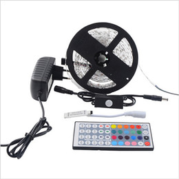 Wholesale Led Strip Light Motion Sensor - 5M 5050 RGB Waterproof Colorful Flexible Led Strip SMD 150 300 Leds Light+PIR Auto Motion Sensor Switch +12V 2A Power+Controller
