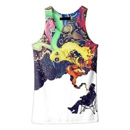 Wholesale Smoking Boy - Wholesale- New 2016 summer Men 3D tee Sleeveless print smoking man tank tops large size 5XL boys slim fit hip hop tops tees