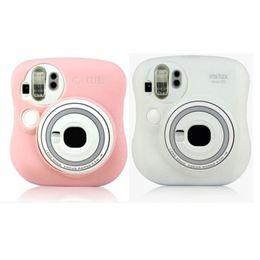 2019 lueur de la caméra Etui de protection en silicone pour appareil photo Fujifilm Polaroid Instax Mini25 Rose / Blanc lueur de la caméra pas cher