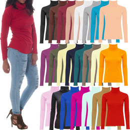 Wholesale Pink Top Cap Sleeve Solid - NEW Womens Ladies Ribbed Cotton Blouses Roll High Neck Polo Turtle Top Jumper Full Sleeve Shirts CL177