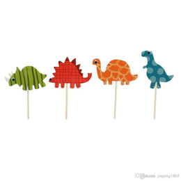 Wholesale Birthday Party Decorations For Children - 24 Pcs Pack Cartoon Dinosaur Series Insert Cards with Toothpick Cake Decoration for Children Wedding Birthday Party Lovely Gifts