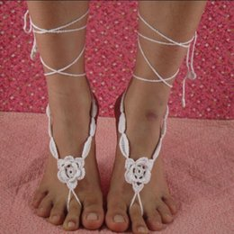 Wholesale Thong Knitted - Crochet Barefoot Sandals Applique Anklet Cuff Knitted Foot Jewelry Weddings Thong Gypsy Sandles Attract Everyone's Attention