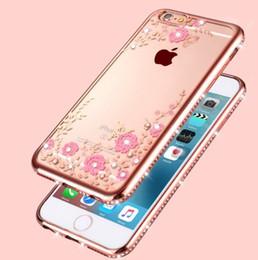 Argentina Para el iphone 5 6 6 Plus 7 Plus caja del teléfono celular del diamante del Rhinestone para la muchacha Cubierta suave de TPU de la mariposa floral Suministro