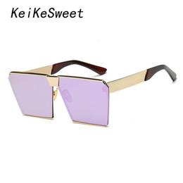 2019 gros hip hop femmes des lunettes de soleil Gros-KeiKeSweet Marque de mode Designer Square Top Hip Hop Rock Rayé Femmes Lunettes de soleil Rose Gold Ladies Surdimensionné lunettes de soleil K0019 promotion gros hip hop femmes des lunettes de soleil