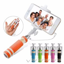 color selfie sticks Promo Codes - Mini Portable Wired Selfie Stick For IPhone7 Samsung Galaxy S8 Huawei iphone 7 Built-in Shutter Camera Tripod Monopod