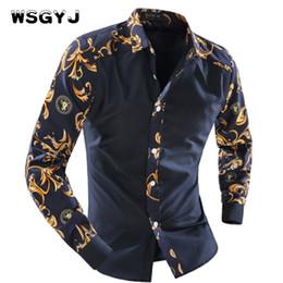 Wholesale Men Fancy Shirts - Wholesale- WSGYJ 2017 Men'S Fashion Men Shirt Fancy Stitching Tide Slim Square Collar Dress Long-Sleeved Male Shirt