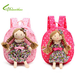 Wholesale Doll Pretty - Wholesale-Children Backpack Kids Schoolbags Kindergarten Girls Little Bags Baby Satchel With Pretty Braids Girl Doll Free Drop Shipping