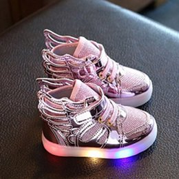 Wholesale Led Flashing Light Shoe - LED Shoes light colorful Flashing with Children shoes with light Party and Sport Casual Shoes for Kid wings canvas flats spring