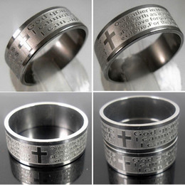 Wholesale 12 Jewelry - Newest Etch Christian Serenity Prayer Cross Stainless Steel Ring Silver Fashion Jewelry Band Ring Size 8 to 12 For Man Women