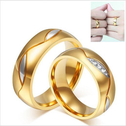 Wholesale Star Couple Rings - 18 Gold gold couple ring The black and yellow various style street shooting star inlay titanium micro lovers ring acc235