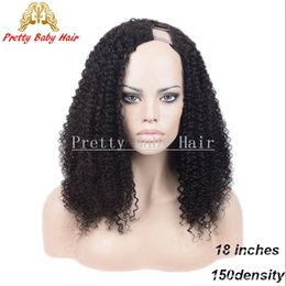 Wholesale Pretty Virgins - Pretty Baby 150% Density Long Kinky Curly U Part Human Hair Wig Brazilian Virgin Hair Unprocessed Human Hair Left Part U Shaped Wigs
