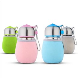 Wholesale Penguin Stainless Steel - 400ml Portable Glass Water Bottle With Tea Infuser and Cover Penguin Shape Child Cup Outdoor Sports Travel Bottles KCA1133