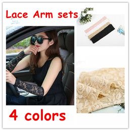 Wholesale Elbow Cuffs - Women Fashion Summer Lace Arm Sleeves Tattoo Scar Cover Uv Arm Cover Sun Protection Driving Arm Sleeve Cuff Elbow