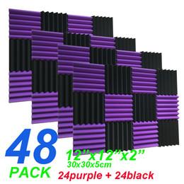 """Wholesale Black Acoustic - 48 Pack Wedge Black purple Acoustic Soundproofing Studio Foam Tiles 2"""" x 12"""" x 12"""""""