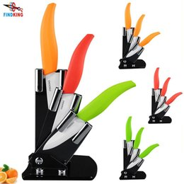 "Wholesale Ceramic Knife Sets Block - D113 Free shipping High quality 3"" 4"" 5"" inch brand Kitchen Fruit Ceramic Knife Set + Acrylic Holder block"
