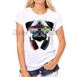 Wholesale Wholesale Dog T Shorts - Wholesale-Summer New Womens T Shirts Pug Life DJ Dog Printed T Shirts Women Round Neck Short Sleeve Tees Shirt Clothes Swag