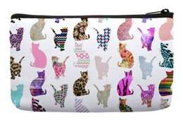Wholesale Cat Pattern Bag - Wholesale- Girly Whimsical Cats Pop Art Aztec Floral Stripes Pattern Print Customized Small Cosmetic Bag Wristlet Makeup Bags