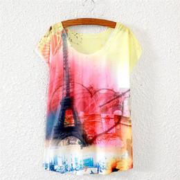 Wholesale eiffel shirt - Wholesale-21 Design 2016 New Summer Fashion Women T Shirt Casual Short Sleeve T-Shirt Women Eiffel Tower Printed Women Shirt Blusas C1644