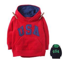 Wholesale Kids Clothing Sale Free Shipping - Wholesale- Hot Sale Hoody Boys Girls Clothes Kids Hoodie USA Print Jacket Clothing Baby Winter Cotton Thicking Sweatershirt FREE SHIPPING