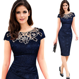 Wholesale Party Works - 2017 New Womens embroidery Elegant Vintage Dobby fabric Hollow out embroidered Ruched Pencil Bodycon Evening Party Dress Round neck lace