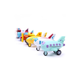 Wholesale Wooden Model Helicopter - 12 Multicolor Wooden Set Mini Airplane Helicopter Fighter Biplane Vehicle Model Educational Toys For Baby Toddler