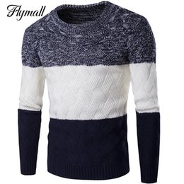 Wholesale Wholesale Wool Coat Man - Wholesale- Brand Winter Knit Thicken Men's Sweaters O-Neck Patchwork Men Sweaters Pullovers Warm Slim Male Knitwear Coats Autumn P20