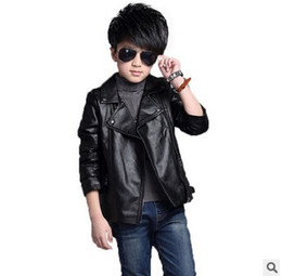 Wholesale Boys Kids Leather Jackets - Big boys jacket fashion children PU leather outwear 2017 new kids spring autumn coat tops fit 3-15T boys leisure zipper outwear T3567
