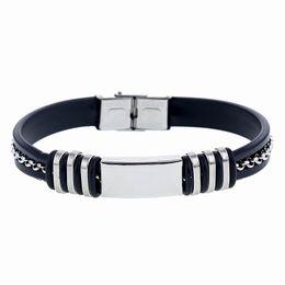 Puños de silicona online-Moda para hombre de silicona negra brazalete de acero inoxidable brazalete pulsera estilo de moda pulsera de cadena pulsera brazalete al por mayor