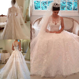 Wholesale modern beautiful - 2018 Free Shipping Beautiful Jewel Neck Appliques Wedding Dresses Lace Court Train Button Back Bridal Dresses Wedding Gowns