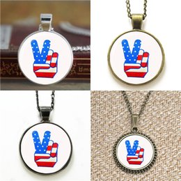 Wholesale usa signs - 10pcs USA Peace Sign Glass Photo Necklace keyring bookmark cufflink earring bracelet