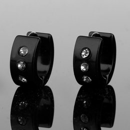Wholesale Hook Diamond Earrings - Stainless Steel Earrings Studs Women Men Crystal Diamond Piercing Ear Hook Gold Silver Hip Hop Jewlery Drop Shinpping