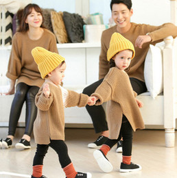Wholesale Open Collar Long Sleeves Sweater - Family clothing girls women knitting open fork sweater father son long sleeve round collar leisure pullover kids autumn winter clothes T4978