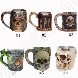 Wholesale Tankard Mug Wholesale - Skull Beer Mug 3D Stainless Steel Double Wall Cups Tea Bottle Knight Tankard Dragon Drinking Cup OOA1202