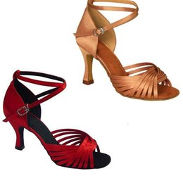 Wholesale Classic Latin Dancing Shoes - Professional adult classic satin women's Latin dance shoes Ballroom dancing shoes Salsa party dance shoes soft outsole Med heels 7.5cm