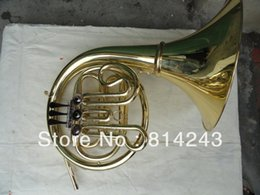 Wholesale french valve - wholesale Students French Horn Single Row 3 Valves F French Horn Surface Gold Laquer French Horn Musical Instrument With Black Case