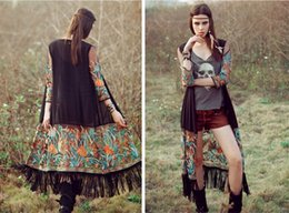 Wholesale Embroidery Silk Chiffon - Folk embroidery tassel coat chiffon cardigan Long Shawls Women Casual Cardigan Short Sleeve Chiffon Perspective Cover Up Blouses