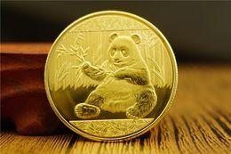 Wholesale Panda Gifts Boxes - 1 pcs Panda Coins Gold Plated Souvenir Coin China Rare Animal Collectibles