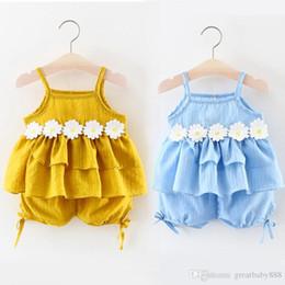 Wholesale Little Girl Boutique Wholesale - 2017 Summer Baby Girls Flower Harness Top Set with Pants Kids Boutique Clothing Little Girls Short Braces Dresses 2 colors K049
