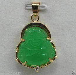 Wholesale Lucky Jade - New 18K GP Lovely green Jade buddha lucky pendant + chain