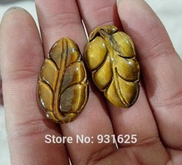 hand carved stone pendants Coupons - 1pcs Natural Tiger's Eye Gem Stone Hand Carved Leaf Pendant + Rope Necklace Lucky Pendants Fine Jewelry for woman & man